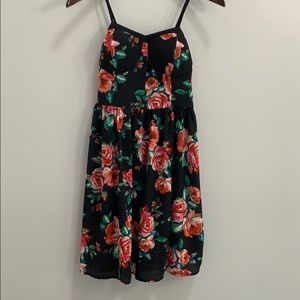 Xhilaration Black Floral Dress With Pockets Size M